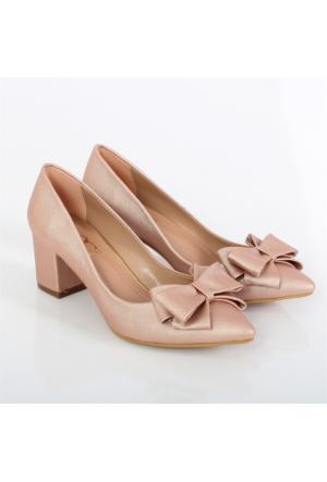 Oc Pudra Alçak Topuk Fiyonklu Kadın Ayakkabı Cv102