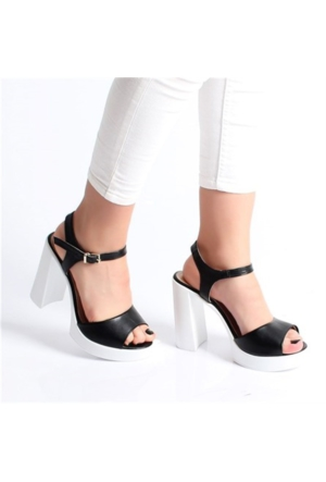 Lonar Siyah Kalın Yüksek Topuklu Kadın Sandalet H249