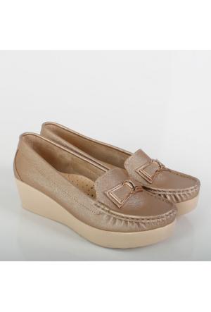 Oc Altın Prada Kalın Dolgu Topuklu Kadın Ayakkabı K106