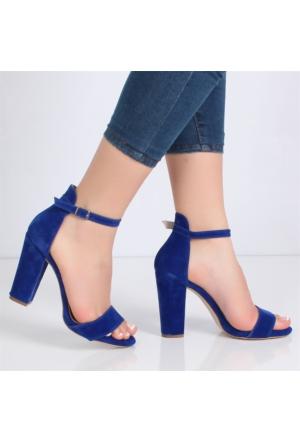 Bono Mavi Süet Kalın Yüksek Topuklu Kadın Ayakkabı 1405