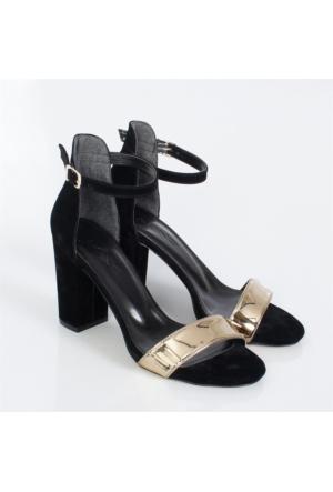 Bono Siyah Süet Altın Kalın Topuklu Bayan Ayakkabı 1410
