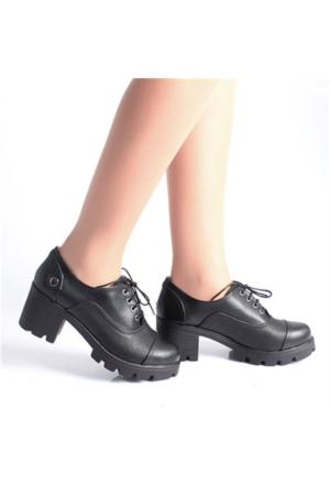 Etol Coin Siyah Bağcıklı Kalın Topuklu Kadın Ayakkabı 02