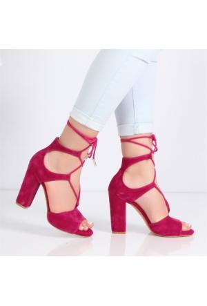 Flamenco Fuşya Süet Topuklu Kadın Sandalet190