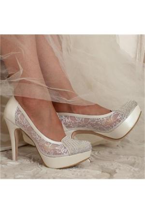 Free Four Bridal Sedef Tüllü Taşlı Platform Topuk Kadın Abiye Ayakkabı 4318