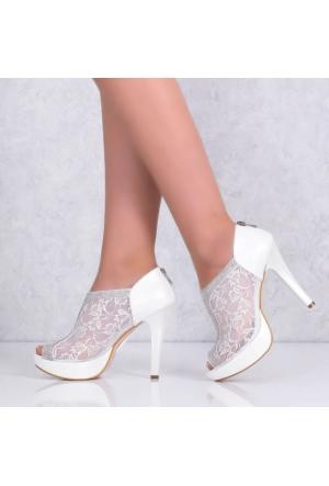 Free Four Sedef Plarform Topuklu Kadın Abiye Ayakkabı 4507