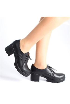 Trentsiyah Bağcıklı Kalın Topuklu Kadın Ayakkabı 080