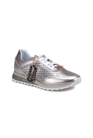 Butigo 2690/05 Altın Kadın Deri Sneaker Ayakkabı