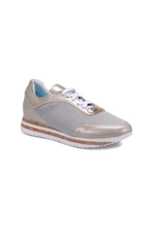 Butigo 2690/09S Altın Kadın Deri Sneaker Ayakkabı