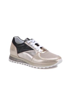 Butigo 2690/10 Altın Kadın Deri Sneaker Ayakkabı