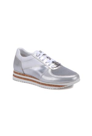 Butigo 2690/10S Gümüş Kadın Deri Sneaker Ayakkabı