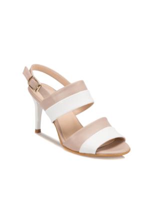 Butigo S807 Vizon Beyaz Kadın Sandalet