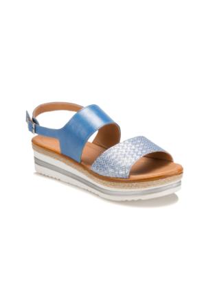 Miss F Ds17022 Mavi Kadın Dolgu Topuk Sandalet