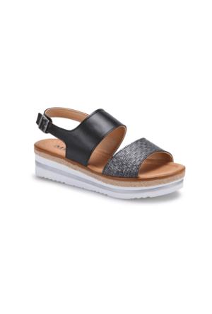 Miss F Ds17022 Siyah Kadın Dolgu Topuk Sandalet