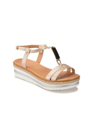 Miss F Ds17023 Altın Kadın Dolgu Topuk Sandalet