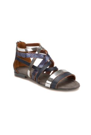 Miss F Ds17052 Lacivert Gümüş Kadın Sandalet