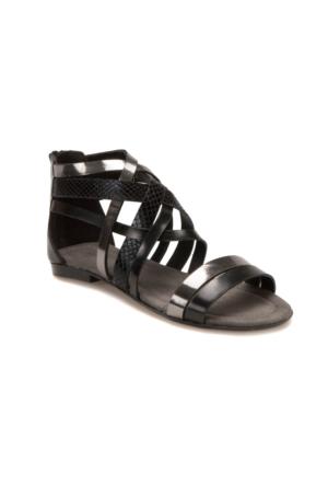 Miss F Ds17052 Siyah Gümüş Kadın Sandalet