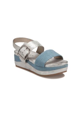 Miss F S17011 Mavi Kadın Dolgu Topuk Sandalet
