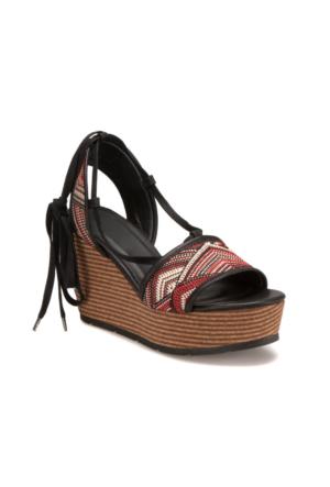 Miss F S17013 Siyah Kırmızı Kadın Sandalet