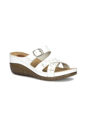 Polaris 71.157431.Z Beyaz Kadın Dolgu Topuk Terlik