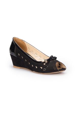 Polaris 71.309766.Z Siyah Kadın Dolgu Topuk Ayakkabı