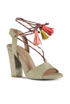 Marjin Lore Topuklu Ayakkabı Bej Süet