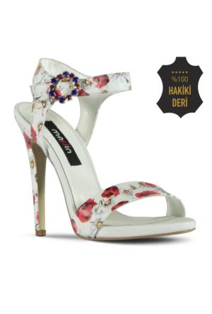 Marjin Virma Topuklu Ayakkabı Beyaz