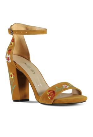 Marjin Lerya Topuklu Ayakkabı Hardal Süet