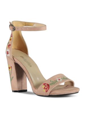Marjin Lerya Topuklu Ayakkabı Pudra Süet