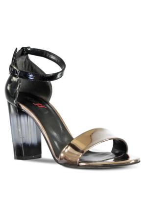 Marjin Anta Topuklu Ayakkabı Pudra Altın