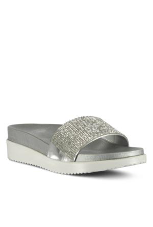 Marjin Tonta Düz Terlik Gümüş
