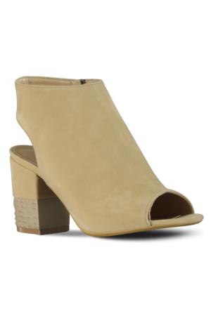 Marjin Holi Topuklu Ayakkabı Bej Süet