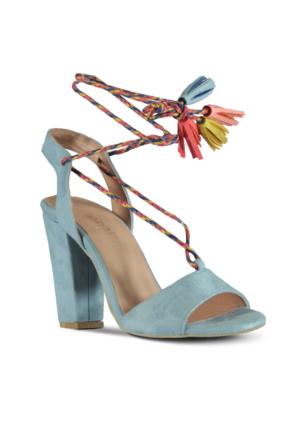 Marjin Lore Topuklu Ayakkabı Mavi Süet