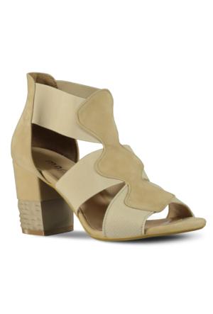 Marjin Zuna Topuklu Ayakkabı Bej Süet
