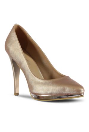 Marjin Novat Topuklu Ayakkabı Pudra Altın