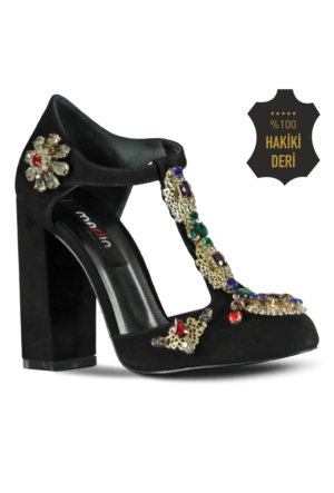Marjin Anas Topuklu Ayakkabı Siyah Süet