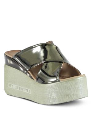 Marjin Monica Dolgu Topuk Terlik Gümüş