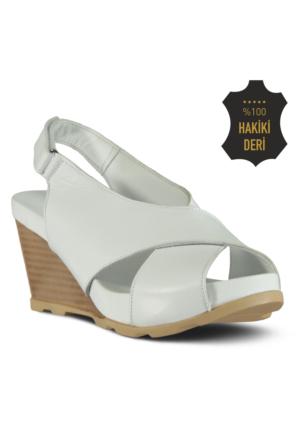Marjin Sabine Dolgu Topuk Sandalet Beyaz
