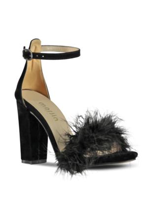 Marjin Sisto Topuklu Ayakkabı Siyah Süet