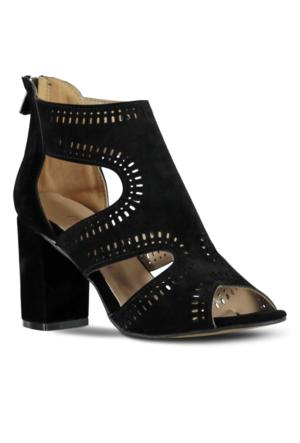 Marjin Makov Topuklu Ayakkabı Siyah Süet