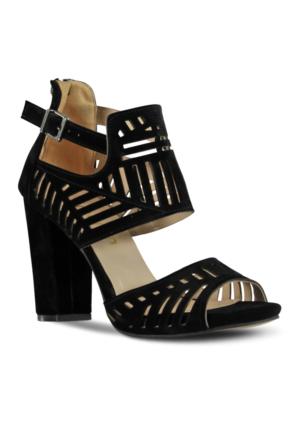 Marjin Vice Topuklu Ayakkabı Siyah Süet