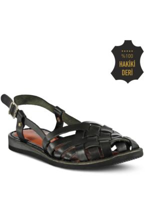 Marjin Nifat Düz Deri Sandalet Siyah
