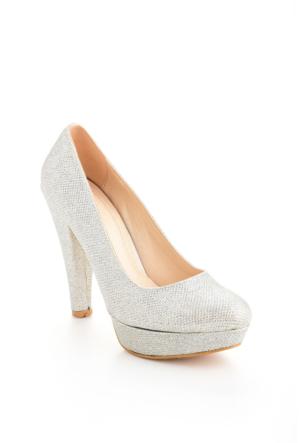 Edways Gümüş Bayan Platform Ayakkabı