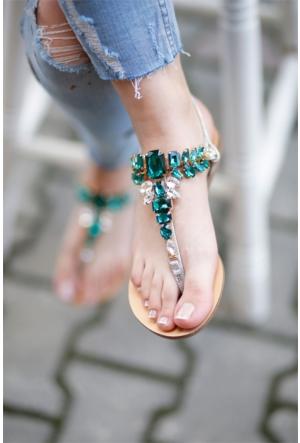 İnce Topuk Taşlı Sandalet 7YAZA0291869
