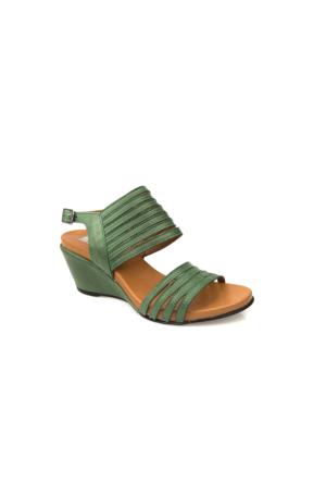 Ziya Kadın Hakiki Deri Sandalet 7176 2014 Yeşil