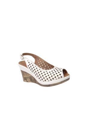 Ziya Kadın Hakiki Deri Sandalet 7176 3204 Beyaz