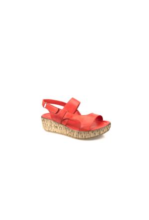 Ziya Kadın Hakiki Deri Sandalet 7131 5012 Kırmızı