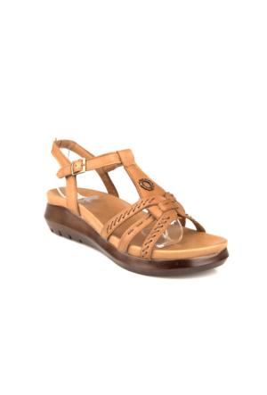 Ziya Kadın Hakiki Deri Sandalet 7176 1089 Taba