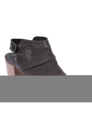 İloz 123680 Gri Nubuk Hakiki Deri Bayan Ayakkabı