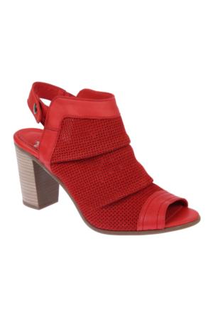 İloz 123680 Kırmızı Nubuk Hakiki Deri Bayan Ayakkabı
