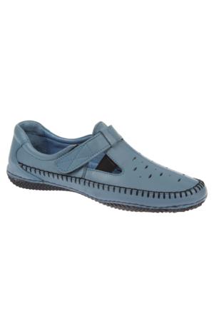 Shalin Est 35 Açık Mavi Hakiki Deri Ortopedik Bayan Ayakkabı